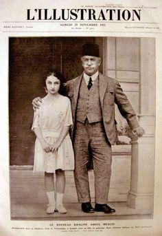 1922 Kasım'ında Halife seçilen Abdülmecid Efendi, kızı Dürrüşehvar Sultan ile Fransız dergisi Illustration'un kapağında..
