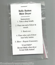 NEW Belly Button Blow Dryer Novelty Gag Gift Prank More