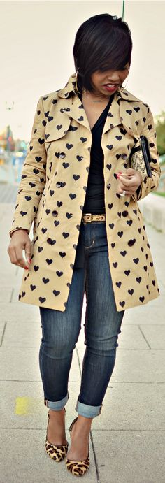 Heart Trench Coat - Fall 2014 - Mix Prints I want this coat. Fall Outfits, Casual Outfits, Cute Outfits, Fashion Outfits, Womens Fashion, Fashion Trends, Fashion Coat, Petite Fashion, Fashion Tips