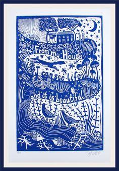 Linocut Prints, Art Prints, Block Prints, Illustrator, Linoprint, Wood Engraving, Woodblock Print, Life Is Beautiful, Art Lessons