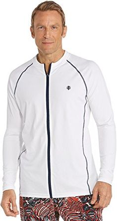 Coolibar UPF 50 Mens Long Sleeve Water Jacket  Sun Protective Large  White * Details on product can be viewed by clicking the image http://www.amazon.com/gp/product/B0021WGOOG/?tag=buyamazon04b-20&pwz=260217004616