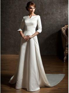 A-Line/Princess Off-the-Shoulder Watteau Train Satin Wedding Dress