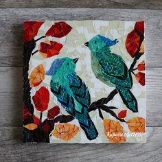 Autumn Birds. Beautiful Mosaic Birds. Wall mosaic decor. Mosaic Art. Wall Art Gift. Home decor