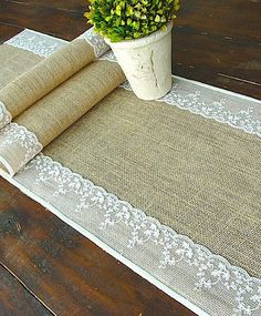 Burlap and lace table runner. or isle runner. actually i love this by joanne - SallyB - - Burlap and lace table runner. or isle runner. actually i love this by joanne - SallyB Burlap Crafts, Diy Crafts, Craft Projects, Sewing Projects, Burlap Projects, Burlap Table Runners, Aisle Runners, Decoration Table, Rustic Wedding