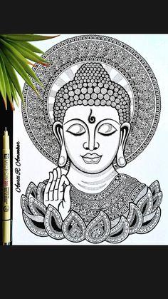 Flower Art Drawing, Doodle Art Drawing, Mandala Drawing, Cool Art Drawings, Art Drawings Sketches, Pencil Drawings, Mandala Art Lesson, Mandala Artwork, Art Buddha