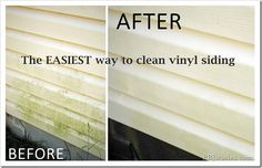 The absolute EASIEST way to clean your vinyl! Okay so to test the Mr. Clean Outdoor Pro all I did was spray the product on our siding, let it sit for a minute or so… and sprayed it with the jet setting from our hose. And… ba-bam! Looks brand new! Diy Cleaning Products, Cleaning Solutions, Cleaning Hacks, Cleaning Checklist, Cleaning Recipes, Clean Siding, Cleaning Vinyl Siding, Vinyl Siding Cleaner, Homemade Toilet Cleaner