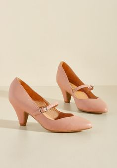 Reserved for Rollicking Heel in Rose | Mod Retro Vintage Heels | ModCloth.com  As for your new favorite pumps, well, they do best on the dance floor! With tapered mid heels, buckled straps, and pointed toes, these dusty rose Mary Janes from Chelsea Crew save their spiffiest moves for moments when they can really cut loose.