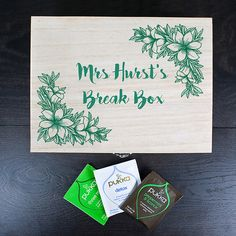 Personalised Teachers Tea Break Box Floral Design A delightful wooden box filled with their favourite teas. Made from pine and personalised with initial and personal message on inside of lid. Each box is filled with a selection of delicious Pukka tea http://www.MightGet.com/january-2017-13/personalised-teachers-tea-break-box-floral-design.asp