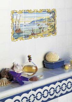 Eight piece tile mural. great for a small space!
