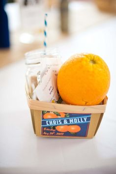Treat your guests to a little taste of what to expect like this beautiful themed Florida orange welcome basket.