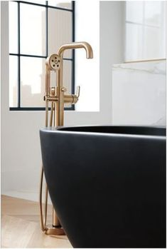 Brizo Litze Single Handle Freestanding Tub Filler with Hand Luxe Gold Faucet Tub Filler Single Handle Bathroom Trends, Modern Bathroom, Master Bathroom, Bathroom Ideas, Restroom Ideas, Industrial Bathroom, Shower Ideas, Gold Faucet, Tub Faucet