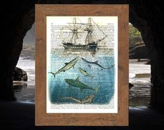 Old ship with sharks on vintage encyclopedia page - 212 year old paper