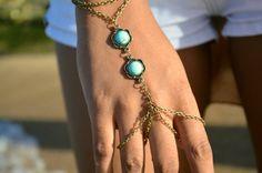 Boho Slave Bracelet Hand Bracelet Piece Ring Hipster Bronze Chain Bohemian Boho Two Turquoise Beads Hand Jewelry