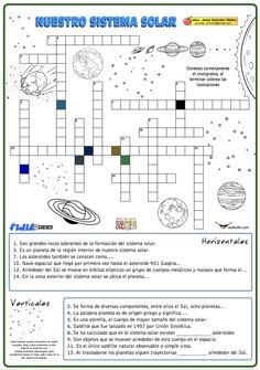 Crucigrama de nuestro sistema solar - Actiludis Spanish Lesson Plans, Spanish Lessons, Science Classroom, Social Science, Solar System Worksheets, Solar System Projects, Spanish Classroom, Science Lessons, Worksheets For Kids