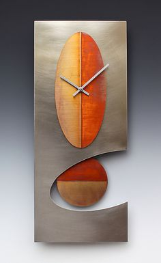 Steel+24+Oval+Pendulum+clock by Leonie+Lacouette: Metal+Clock available at www.artfulhome.com