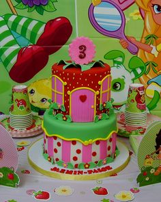 strawberry shortcake themed cake for Jazmin-Paige's 3rd birthday