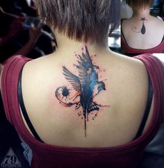 tattoo bird watercolor