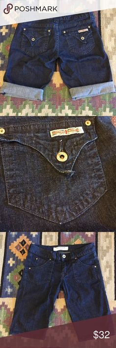 HUDSON shorts Never worn , but has been washed, the side slit has not even been undone yet. Stretch dark denim. Can be folded for a different look. Hudson Jeans Shorts Bermudas