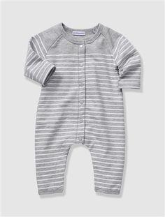 Organic Collection Newborn Baby Fleece All-In-One Grey marl stripe+Pale lavender