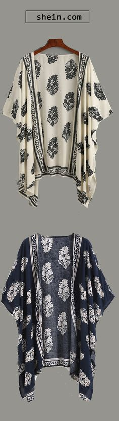 Beige Vintage Pattern Print Kimono.There colors for you!