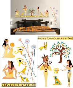 Art Applique Egyptian Wall Sticker    Art Applique Egyptian Wall Sticker - Wall Sticker Outlet    Each sheet measures 20 × 28 inches    Make over your bedroom and feel like an Egyptian King.    Simply peel these colorful decals from the backing and press to your wall. Pieces are removable and re-positionable.