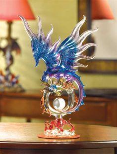 Mystical DRAGON Glass Wedding Centerpiece Cake Topper