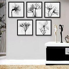 Framed Canvas Art, Black And White Flowers Framed Canvas Print Set of 5 – GBP £ 55.19