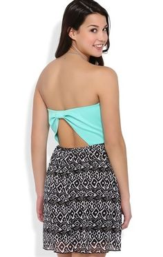 Deb Shops Strapless Dress with Open Knot Back and Printed Chiffon Skirt $20.00