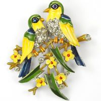 Trifari 'Alfred Philippe' Pair of Love Birds on Branches with Flowers Pin Clip