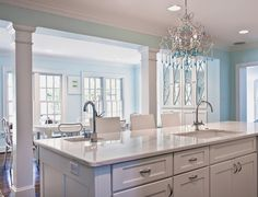 Kitchen and Dining spaces created by removing a wall and adding columns :: Home of Jenny Andrews featured at House of Turquoise