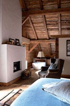 #interior design #home decor #home accessories #travel #ski chalet #Cabin #Decorating #Lodge #Chalet #Ski #Style #Mountain #Decor #living #fire_place #wood #raw #beams