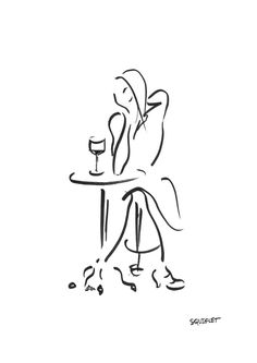 Girl Contemplating In A Café With A Glass Of Wine Drawing - Squiglet fine art high-quality prints for sale. I offer my prints onHahnemühle German Etchingheavyweight matt paper, which has a slightly warm base tone and a strong texture thatgives an artwork a handmade crafted feel. Acid-free and pigment-based archival inks ensure thatthe prints willnot degrade, fade or yellow over time. Grape Drawing, Pitt Artist Pens, Picture Boards, Profile Pictures, Prints For Sale, Giclee Print, Whimsical, Fine Art Prints