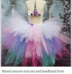 This tutu is a mix of sparkly turquoise, purple, pink and white with a matching headband horn. The waist band in the tutu skirt is elasticated and has a lot if stretch to it. This is a medium length tutu. Perfect for parties and special occasions. Diy Tutu, Unicorn Halloween Costume, Halloween Costumes For Kids, Tutus For Girls, Girls Dresses, Kids Girls, Unicorn Outfit, Xploding Unicorn, Unicorn Fantasy