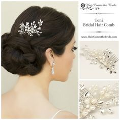Rhinestone & Pearl Bridal Vine Hair Comb by Hair Comes the Bride ~ Bridal Hair Accessories & Jewelry Bridal Hair Vine, Wedding Hair Flowers, Hair Comb Wedding, Wedding Hair And Makeup, Flowers In Hair, Bridal Updo, Wedding Beauty, Dream Wedding, Bride Hair Accessories