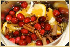 Stovetop Christmas potpourri. 1 orange, 1/2 cup cranberries, 1 tbs whole cloves, 3cinnamon sticks, a bit of grated nutmeg. Fill a pot with water on lowest setting. Refill water as needed. One batch lasts for weeks.