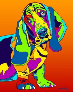 Multi-Color Basset Hound Matted Prints & Canvas Giclées. Hand painted and printed in USA by the artist Michael Vistia. The Basset Hound is a short-legged breed of dog of the hound family, as well as o