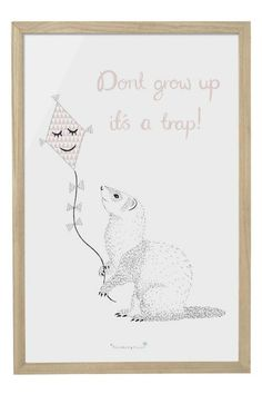 "Sweet wood framed artwork states ""Don't Grow Up. It's A Trap""! We think this is absolutely adorable and love that it come framed and ready to hang!  Size: 16""L x 24""H  Don't Grow Up Art by Pulp & Circumstance . Home & Gifts - Home Decor - Wall Art Portland Oregon"