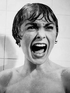 Janet Leigh, Psycho (1960)... in that film's most iconic scene, with a scream on her lips that's now become legend.   At least her daughter, Jamie Lee Curtis, got her official 'Scream Queen' creds legitimately. -L.M. Ross