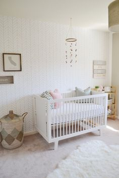 Neutral Girl's Nursery :: Beige and Pink :: Pink and Beige :: Benjamin Moore Revere Pewter :: Lindsay Saccullo Interiors
