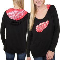 Detroit Red Wings Women's Sublime Long Sleeve Hooded Sweater - Black