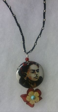 Crochet necklace/bracelet with Frida Kahlo and by CaroLinesJewel, $35.00