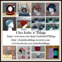 CIN'S KNITS 'N' THINGS. Shop Hats, Kitchen Towels, Casserole Carriers, Hot pads, Pot holders, Swifter covers, and Key Chain Lip Balm Holders. My items would make Unique Birthday Gifts, Valentine Gifts, Mother's Day Gifts, Holiday Gifts, Christmas Gifts, Easter Gifts, - Any Time Gifts - for friends and family and for yourself!  You can find my items here: https://www.etsy.com/shop/CinsKnitsNThings and http://cinsknitsnthings.storenvy.com and www.facebook.com/cinsknitsnthings