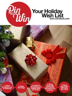 UPDATE: This sweepstakes closed on December 3, 2012. Congratulations to the winner.  Pin to win your holiday wish list!
