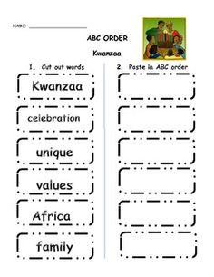 Looking for a way to reinforce Kwanzaa, Kwanzaa vocabulary but still have it integrated into your reading/writing class?  Give students a chance to put these key Kwanzaa phrases in ABC order.