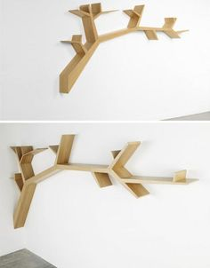 branch shaped wall shelving