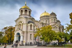 The Nativity of Christ Orthodox Cathedral in Riga, Latvia, was built in a Neo-Byzantine style between 1876 and 1883.