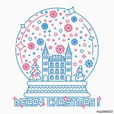"""Скачивайте роялти-фри векторное изображение """"Christmas snow globe vector illustration."""", созданое Molnia по самой низкой цене на Fotolia.com. Полистайте наш банк изображений и найдите идеальный стоковый вектор для вашего маркетингового проекта!"""