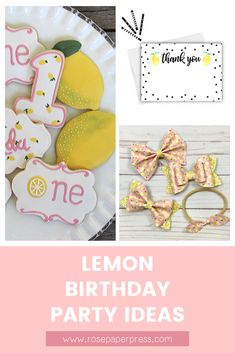 The best ideas for hosting a Lemon Birthday Party for kids. Lemonade Birthday Party ideas including invitations, cookies, outfits, and decorations. Kids Birthday Themes, Birthday Banners, Birthday Invitations Kids, 2nd Birthday Parties, Black Balloons, Birthday Cookies, 1st Birthdays, Holiday Cards, Lemon