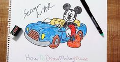 How to draw mickey mouse and his car?Mickey Mouse is very cute and famous Disney character. H ow painting a Mickey Mouse . Car Drawings, Pencil Drawings, Mickey Mouse Drawings, Hello Dear, Step By Step Drawing, Disney Characters, Fictional Characters, Snoopy, Sketches
