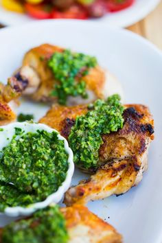 Rustic Italian Chicken w/ Salsa Verde Verde Sauce…a quick weeknight meal that tastes like sunday supper! This is my new favorite! | www.feastingathome.com